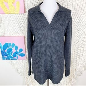 Tory Burch v neck side split Popover sweater